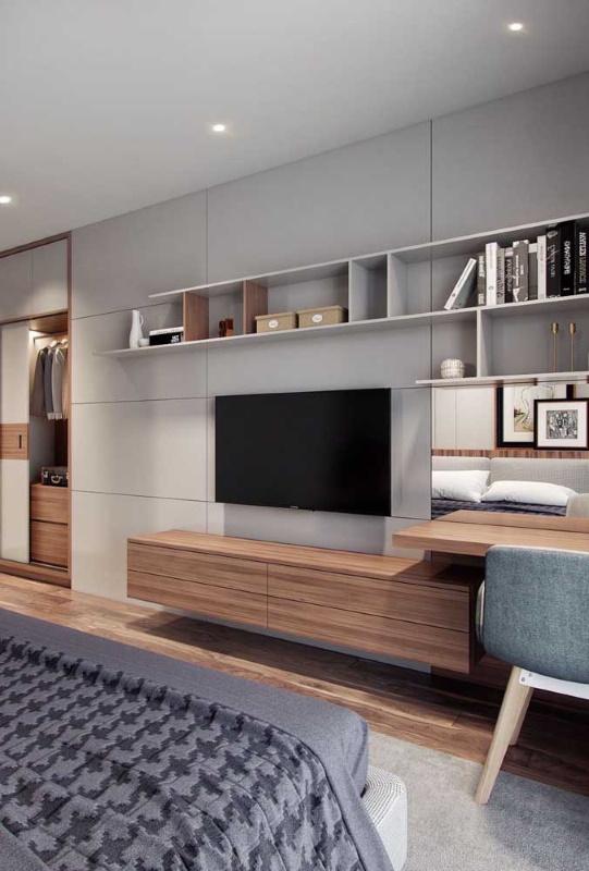 comoda cu sertare suspendata perete furnir lemn