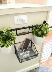 8-cos metalic suport incarcare telefon mobil montat pe bara din bucatarie