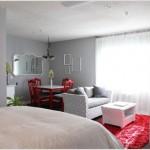 8-covor rosu pentru accentuarea zonei din preajma canapelei living multifunctional