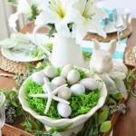 8-decor din oua flori iarba si vase ceramice pentru masa de Pasti