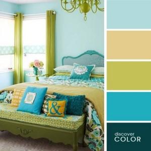 8-decor dormitor paleta cromatica turcoaz vernil si ocru