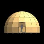 8-dimensiunea casei dom de 70 mp cu diametrul de 8 m