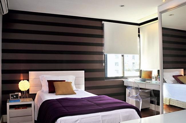 8-dormitor modern decorat in maro negru alb si violet