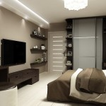 8-dormitor spatios minimalist cu pardoseala alba si mobila culoare nuc
