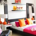 8-dormtior modern alb cu accente wenge portocalii si roz fuchsia