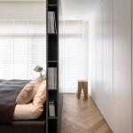 8-dressing dormitor ascuns in spatele unui perete din pal melaminat construit la capul patului