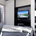 8-dulap cu televizor integrat decor dormitor modern minimalist casa mica 37 mp