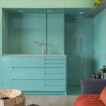 8-dulapuri fara manere bleu turcoaz lucios mobilier bucatarie open space