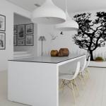 8-fototapet decorativ in alb si negru decor bucatarie minimalista alba
