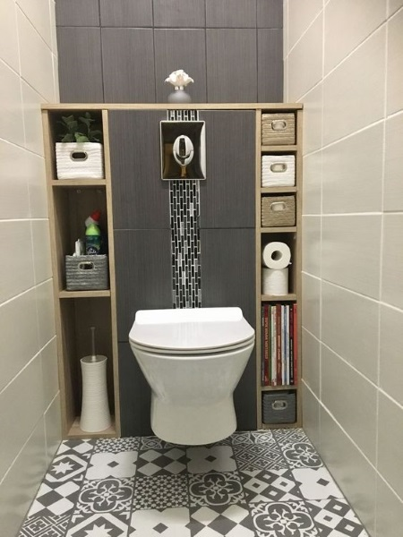 gresie patchwork wc suspendat baie moderna