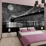 8-imagine alb negru decor urban fototapet perete dormitor modern