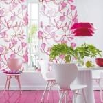8-imprimeu decorativ perdele albe cu flori fuchsia sau ciclam