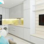 8-living mic si bucatarie open space albe cu accente turcoaz
