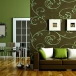 8-living modern minimalist decorat in verde si maro