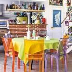 8-loc de luat masa cu scaune colorate din plastic transparent