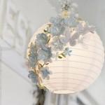 8-lustra handmade cu abajur din hartie decorat cu fluturasi si floricele 3D