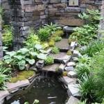 8-mic iaz decorativ cu maluri din piatra de rau si cu multe plante acvatice ornamentale