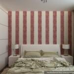 8-mobila alba pe fundalul unor pereti decorati cu tapet cu imprimeu rosu dormitor 12 mp