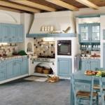 8-mobila bleu din lemn decor bucatarie rustica