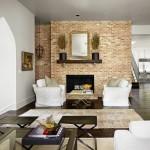 8-mobilier si textile neutre in contrast cu peretele placat cu caramida aparenta