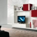 8-model biblioteca moderna living in alb si rosu