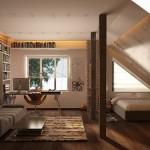 8-model de studio mansardat cu zona de dormitor living si spatiu de lucru