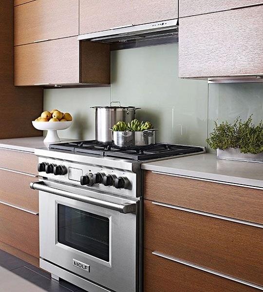 8-panouri din sticla colorata gri decor perete bucatarie moderna mobilier cu furnir de lemn