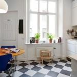 8-pardoseala tabla de sah decor bucatarie moderna amenajata in stil scandinav