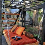 8-pat din lemn suspendat decor terasa