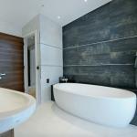 8-perete de accent baie decorat cu faianta in contrast cu restul decorului