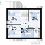 8-plan mansarda cu 3 dormitoare proiect casa 2018 model z75