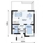 8-plan parter casa mica cu mansarda 111 mp