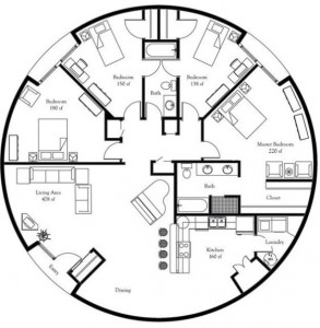 8-schita compartimentare interioara casa in forma de dom geodezic