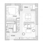 8-schita compartimentare interioara plan amenajare apartament 2 camere
