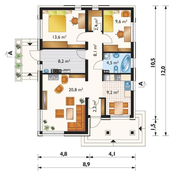 schita casa moderna parter 2 dormitoare