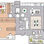 8-schita plan apartament amenajat in plan deschis Barcelona