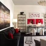 8-tablouri si pernute decorative rosii amenajare living modern cu accente art deco