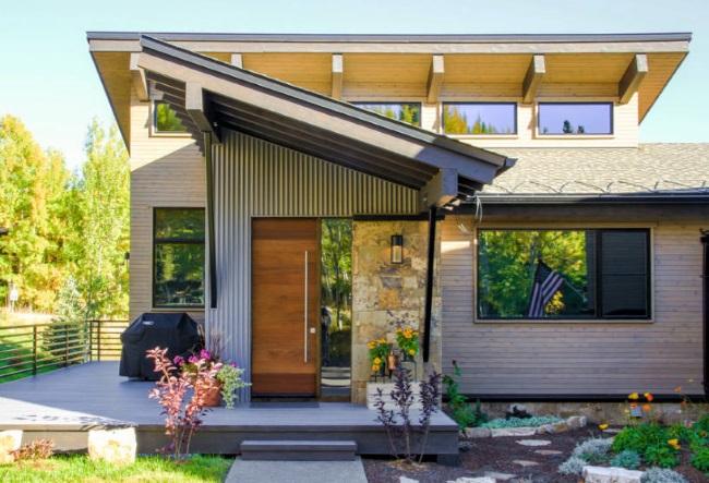 usa exterior lemn maner inox lung casa design modern