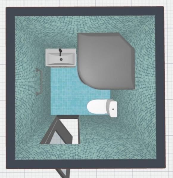 8-varianta amenajare baie mica de aproape 3 mp cu cabina de dus
