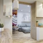 8-vedere din bucatarie in living apartament modern 3 camere amenajat stil scandinav