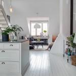 8-vedere din bucatarie spre living apartament 3 camere amenajat in stil rustic scandinav