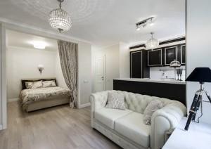 8-vedere din living spre dormitor apartament mic 29 mp