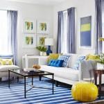 9-accente colorate galbene si albastre in living alb idei culori 2019