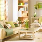 9-accente colorate vernil in decorul unui living amenajat in nuante de crem