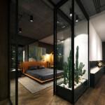 9-amenajare dormitor casa cu pereti din sticla stil industrial