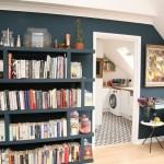 9-biblioteca asortata cu peretele albastru inchis