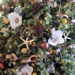9-brad frumos decorat cu flori albe si conuri