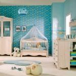 9-camera bebelusi baietel decorata in bleu alb si galben