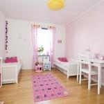 9-camera copii perete finisat cu tapet decorativ roz
