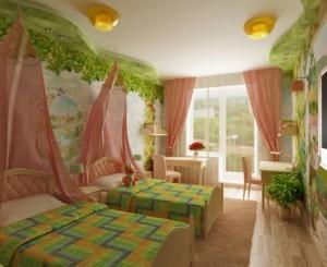 9-camera copiilor decorata cu verde si coraille